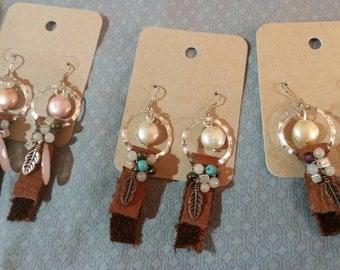 Leather hoop and dangle earrings