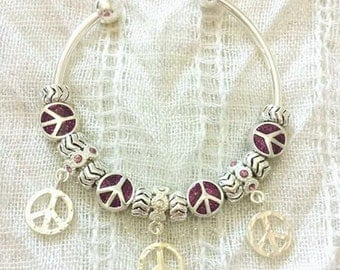 Purple Peace Charm Silver Plated Bangle Bracelet 7.5 Inches