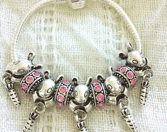 Kids Bunny Rabbit Carrot Pink Rhinestone Antique Charm Silver Plated Bracelet 6 Inches