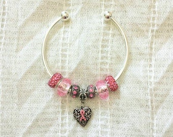 Pink Ribbon Heart Charm Czech Rhinestone Beads Silver Plated Bangle Bracelet 7.5 Inches