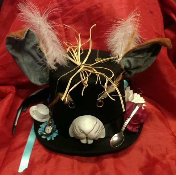 March Hare Alice In Wonderland: March Hare Alice In Wonderland Wool/Felt Top Hat Through The