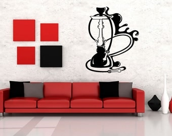 Wall Vinyl Sticker Decals Mural Room Design Pattern Art Hookah Bar Smoke Relax Bo1611