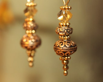 Gold Plated Brass Filligree And Crystal Drops #1493