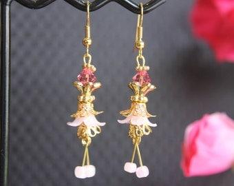 Petite Pink Flower Drop #1613