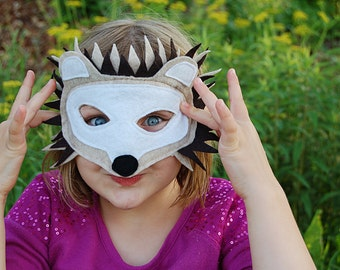 Handmade felt hedgehog mask, child