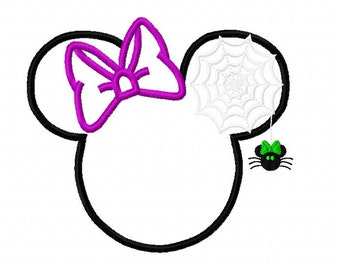 Character Spider Web in ear with Bow Embroidery Applique Design Halloween