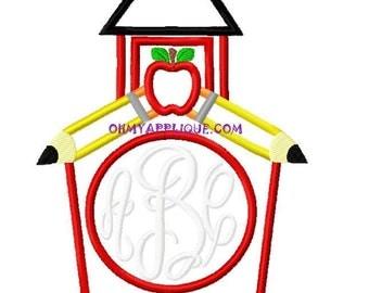 Monogram School House Design Embroidery Applique Design