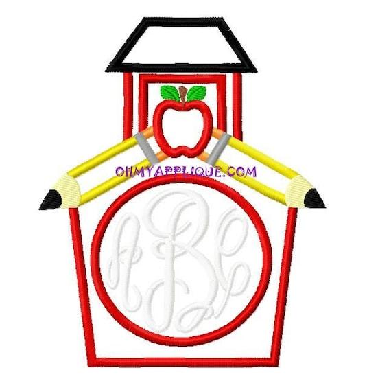 Monogram school house design embroidery applique design for Monogram homes floor plans