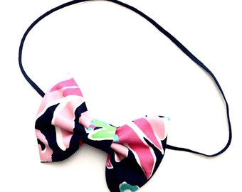 """Lilly Pulitzer """"SIPPIN AND TRIPPIN"""" Bright Navy Bow or Headband, Lilly Pulitzer Headband, Lilly Pulitzer Fabric Bow"""