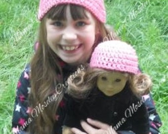 "Girl and 18"" doll beanie crochet"