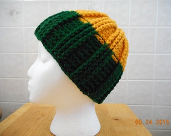 Hand crocheted Hat green/gold color winter hat Packers color hat