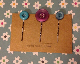 Upcycled Button Hair Pins