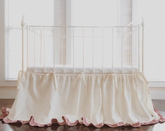 Cinderella Ruffled Crib Skirt Separates - Ivory Crib Skirt with Blush Ruffles - Crib Skirt Separates