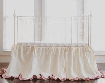 Tie-On Crib Skirt Separates - Cinderella Ruffled Crib Skirt Separates - Ivory Crib Skirt with Blush Ruffles - Crib Skirt Separates