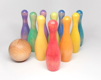 "Wooden 5"" Vintage-Style 10-Pin Bowling Set - Kids Wooden Toy / Educational Toy / Montessori Toy"