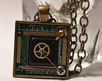 Circuit Board pendant - Motherboard Necklace - Computer jewelry - cyberpunk - steampunk