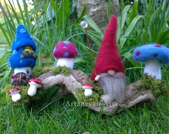 Woodland Gnome and Blue Toadstools on Driftwood - Needle felted waldorf-inspired merino wool sculptures on natural driftwood.
