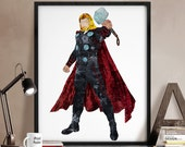 Thor print, Thor poster, Avengers poster, Superhero posters, Marvel print, Art, Hero Illustration, Abstract, Wall art, Artwork, Comic poster