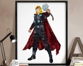 Thor print, Thor poster, Avengers poster, Superhero posters, Marvel print, Art, Hero Illustration, Abstract, Wall art, Artwork, Comic poster