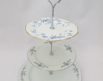 Mismatched Blue flowers 3 tier Cake Stand