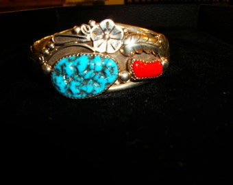 Navajo handcrafted cuff bracelet, Kingman Turquoise & Coral, signed HH