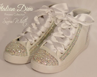 Shoes Snow White in Swarovski white base model style converse for brides and not