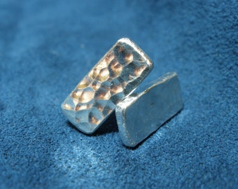 Sterling Silver Thick Rectangular Hammered Stud Earrings