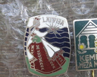 "6 soviet pins ""Soviet Baltic: Latvia"" enambel, heavy metal. Please, offer your price!"