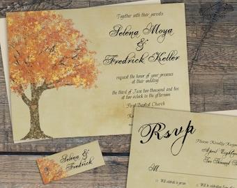 Rustic Fall Wedding Invitation Suite, Autumn Barn Wedding Invitation, Country Wedding Invitation, Printable Fall Tree Wedding Invite, DIY