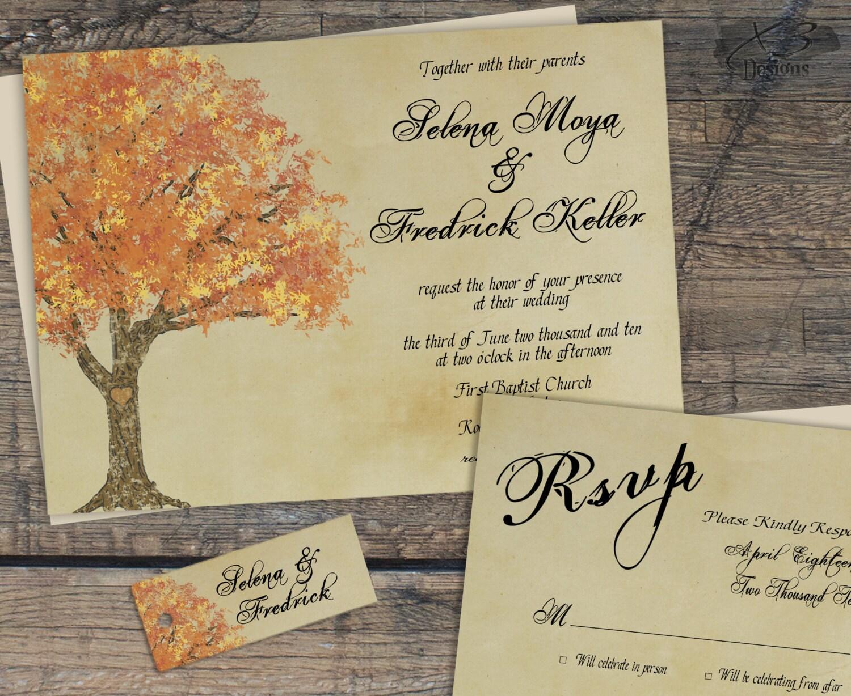 Rustic Fall Wedding Invitation Suite Autumn Barn Wedding