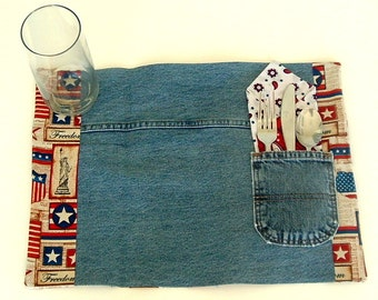 Recycled, upcycled Denim Placemats witjh Patriotic (Red, White & blue) fabric
