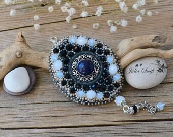 Bead embroidered antique black and white rhinestone and aventurine bracelet. Gemstones black and white bracelet. Bead embroidery bracelet.