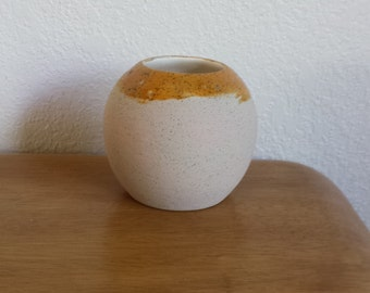Ceramic Pot - Clear Glaze inside and Medium sandstone Glaze with pottery drape on outside(#646B)