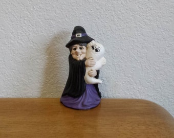 Ceramic Small Witch holding a ghost (#204C)