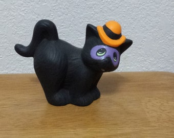Ceramic Halloween Cat with Hat and mask (#100B)