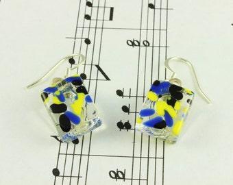 Fused Glass Earrings - Neon Yellow, Black & Blue Sprinkles on Clear Glass - Drop Dangle Earrings