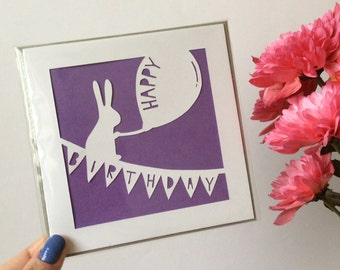 Rabbit Happy Birthday Papercut Card