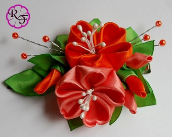 Kanzashi flowers ,Orange and coral  flowers ,hair accessory , Alligator clip , hair piece,  prom hair piece , bridesmaid hair accessory,