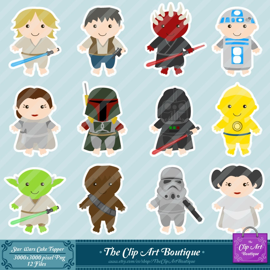 Baby Star Wars Characters Clip Art Popular items for star wars cake ...