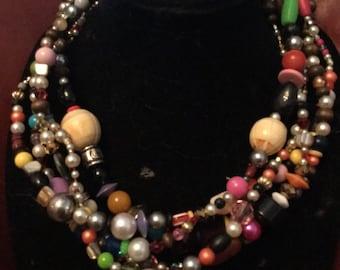 Vintage bead statement necklace