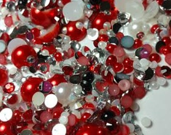 Rhinestone Pearl Mix - Ruby Red
