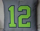 Seattle Seahawks 12 pillow - Gray & Green,  Pillow cover, pillow sham, Seahawks womens, Seahawks jersey, 12s, 12