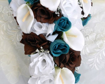 Silk Cascading bridal bouquet  turquoise, brown and white 2 pieces free small toss