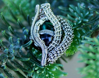 wire wrapped glass bead pendant
