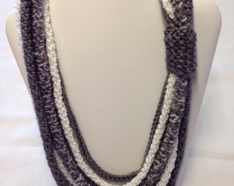 Grey necklace white necklace grey Ichord White Ichord multi strand knit necklace cowl scarf necklace