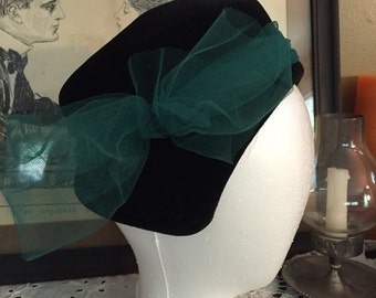 Vintage Black Velour Hat with Teal Tulle Bow