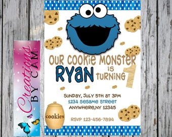 Cookie Monster  Invitation/ Sesame street Invitation Downloadable or Printable Invitation