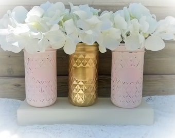 Painted Mason Jar Decor-Pink and Gold-Shabby Chic- Baby Shower Decor-Gift-Chic Nursery Decor-Wedding Decor-Table Centerpiece-Set of 3 Masons