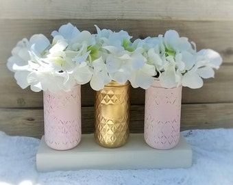Set of 3 Mason Jars-Chic Nursery or Wedding Decor,Pink and Gold,Baby Shower Decor,Country Chic Home Decor,Wedding,Table Centerpiece