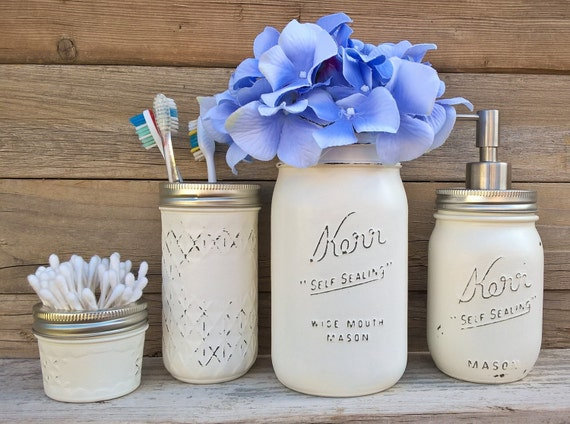 Country bathroom decor mason jar bathroom by for Bathroom decor mason jars